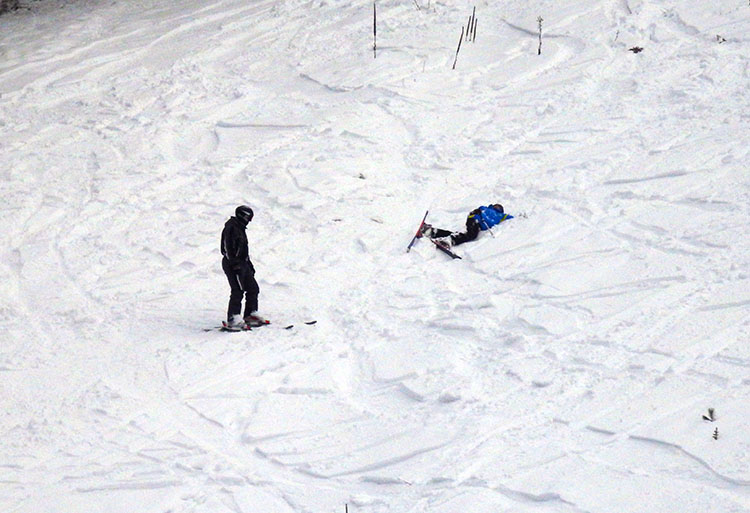 This skier had a hard time getting down the N.5, even though it's closed still.