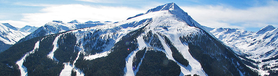 The ski slopes run down the whole north side of the mountain