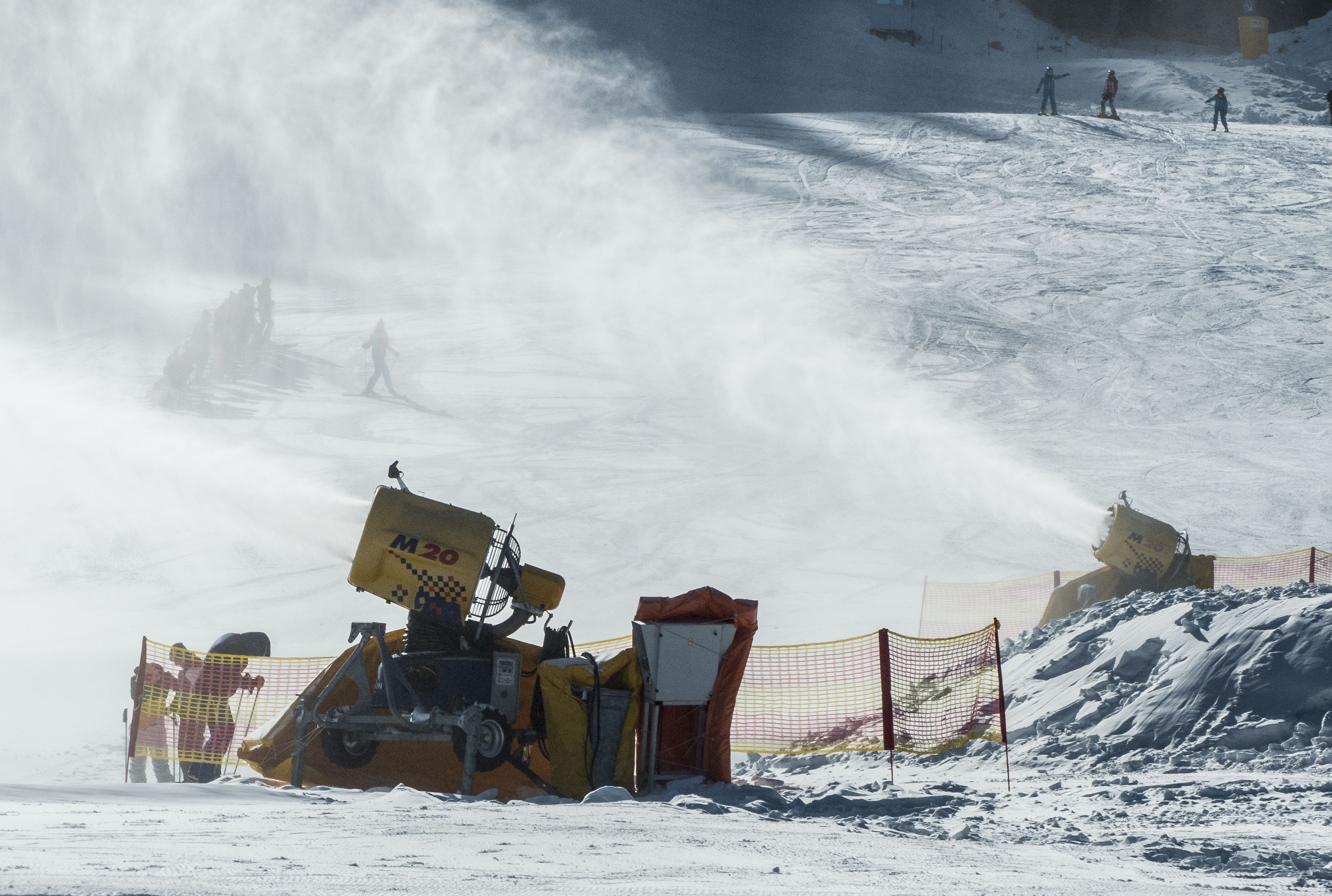 The snow cannons are working all across the mountain!