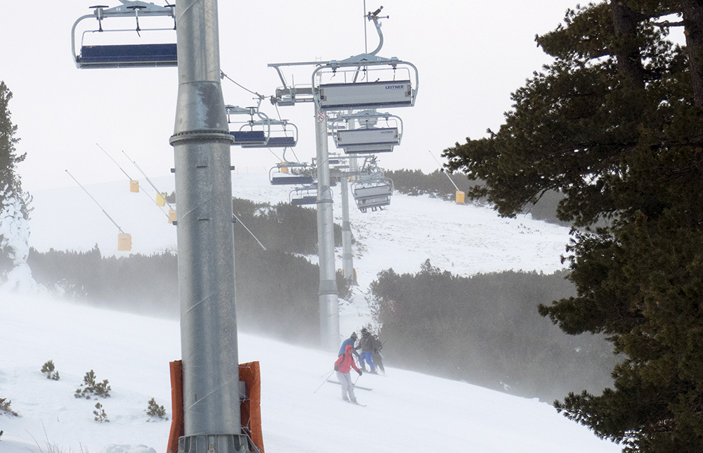 Heavy winds affected the top slopes the most.