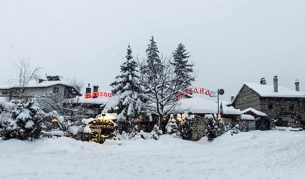 The town of Bansko is also covered in snow.