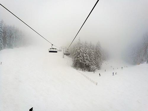 Fog down below.