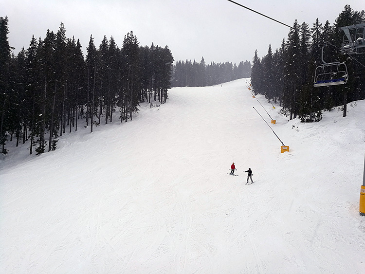 Due to the wet weather, the slopes cleared out early today.