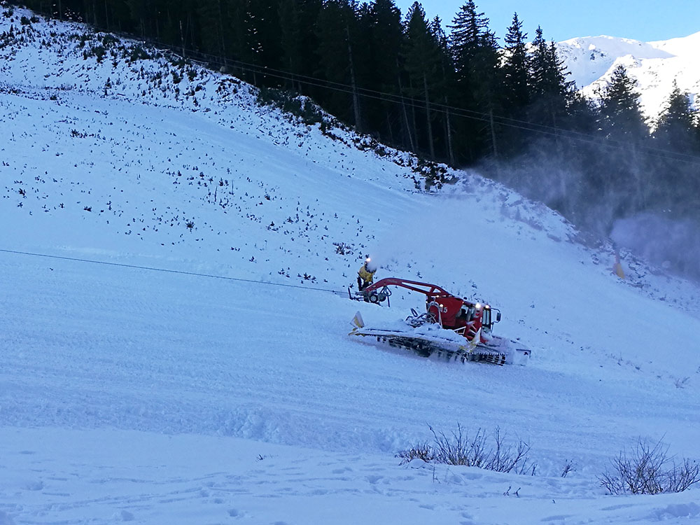 The snowcats are busy grooming the other slopes.