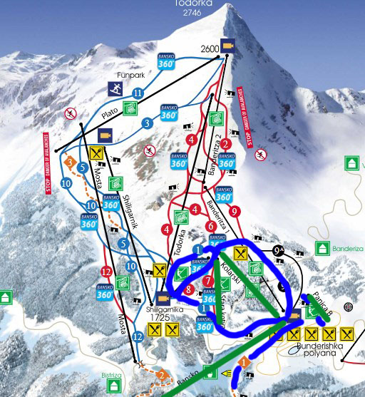 Blue - open slopes; Green - open lifts