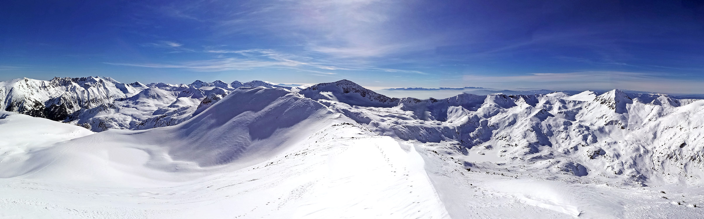 Looking south from the Todorka peak. On a sunny day like this you can see the giant wind turbines that are in Greece.