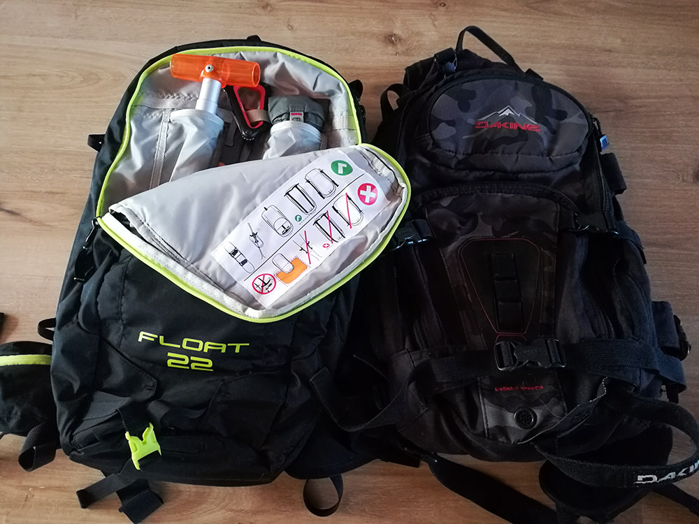 Left: Backpack with avalanche airbag system and equipment; Right: Normal ski backpack.