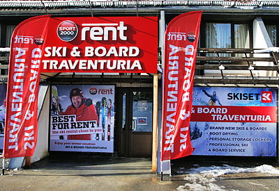 The front facade of Ski & Board Traventuria rental shop in Borovets. As we are the sole partner of SPORT 2000 Rent in Borovets, make sure you do not enter shops with similar logos in the neighbourhood as these are not acting legally.