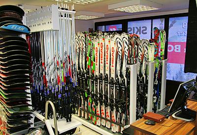 The interior of Ski & Board Traventuria rental shop in Borovets
