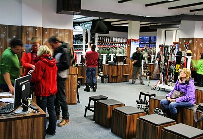The interior of Ski & Board Traventuria rental shop in Bansko