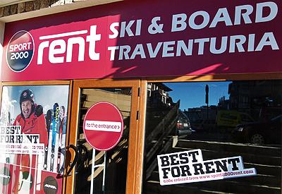 The front facade of Ski & Board Traventuria rental shop in Bansko. As we are the sole partner of SPORT 2000 Rent in Bansko, make sure you do not enter shops with similar logos in the neighbourhood as these are not acting legally.