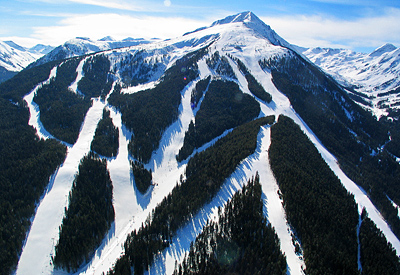 The ski slopes of Bansko in Pirin Mountains, including more than 70km of marked ski runs and cross country tracks.