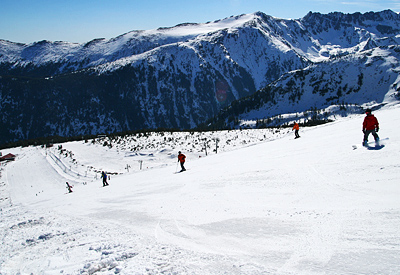 Another great view of the ski slopes and the surrounding mountain ridges of Pirin.