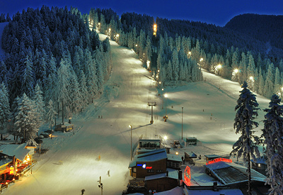 The famous night skiing of Borovets... Take advantage of the extended working time of Ski & Board Traventuria rental shop and mind our special night skiing packages.